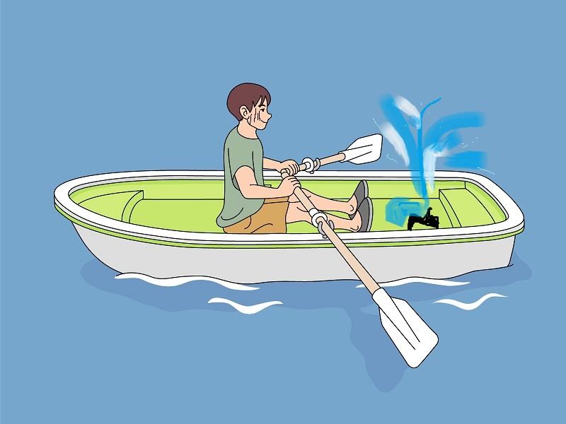 穴の開いた小舟