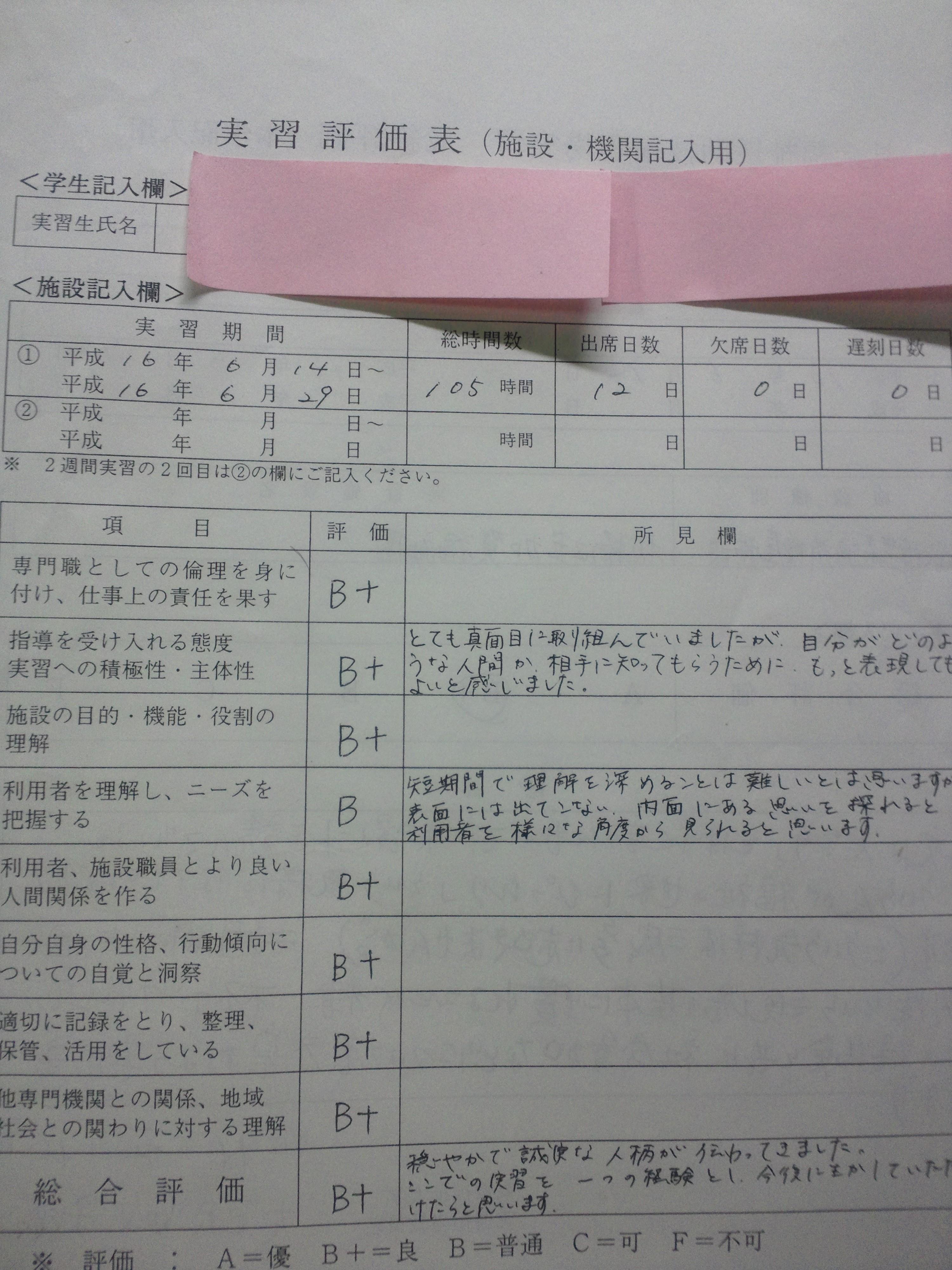 実習評価表